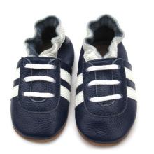 Sapatos de bebê elegantes feitos à mão em couro genuíno