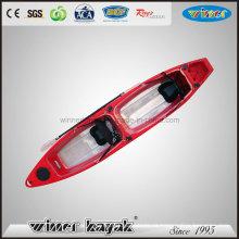 Assentos duplos sentar-se em cima inferior Kayak de pesca transparente