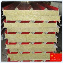 China Panel de sándwich de lana mineral de hoja de acero colorida