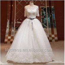 Elegant Sexy Off The Shoulder Princess Ball Gown Wedding Dresses Half Sleeve Bridal Gown With Ribbons Flower Sash Beaded ML056