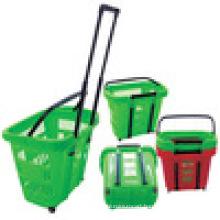 Modern design plastic basket for mart shopping baskets for sale supermarket basket with wheels