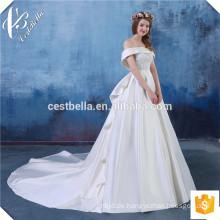 Kundengebundene glamouröse Kappen-Hülse geschwollene Elfenbein-Ballkleid-Braut-Kleid-Hochzeits-Kleider Aliexpress bildete in China-Hochzeits-Kleidern