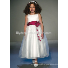 Белый-линии молния назад цветочные аппликации безрукавка Подгонянный цветок девочка платье vestidos дети FGZ40 платьях конструкций