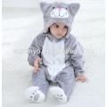 Bébé doux flanelle Barboteuse Cat Onesie pyjamas costumes, vêtements de couchage, serviette à capuchon de bébé