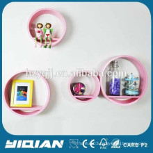 Wooden MDF Wall Decoration Shelf Lacquered Display Pink Round Cube