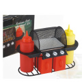 Conjunto de condimentos para churrasco de plástico com 6 peças de frango grelhado
