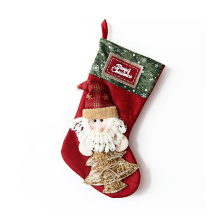 DEQI 3D Christmas Stocking Character Hanging Christmas Socks Candy Bag Gift Santa Snowman Reindeer Decoration