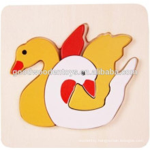 ASTM standard cute wooden 3D animal puzzle for child