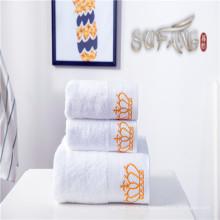 Отель полотенце / мягкий сатин границы отбеливатель белый корона хлопок ванны полотенце наборы