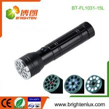 Fabrik Kundenspezifische aaa Batterie Gebraucht 3 in 1 Multi-funciton UV Licht 15 LED Laser Taschenlampe