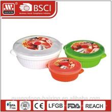 Kunststoff Runde Mikrowelle Essen Container(0.8L/1.7L/3L)