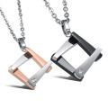 Fashion Square inox 316L colgante collar de mujeres / amor regalo de hombres