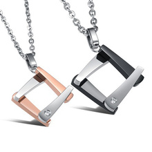 Fashion Square 316L stainless steel Pendant Necklace Women/ Men's Love Gift