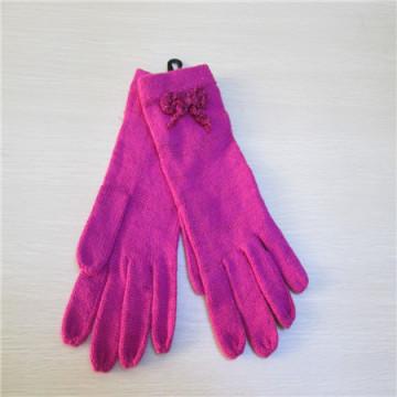 Перчатки трикотажные женские полный палец с одним цветом
