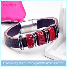 Men with brown leather ruby joker titanium steel bracelet