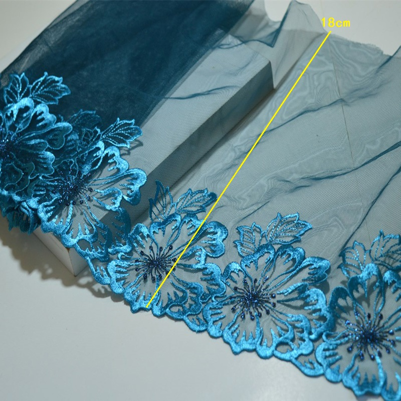 Blue Pattern Embroidery Lace