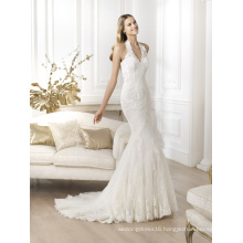 Halter Beading Lace Mermaid Bridal Gown