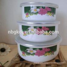 white flower coated enamel coating mixing bowls set