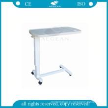 AG-OBT002 hospital médico cabecera ajustable de plástico sobre la mesa de la bandeja de la cama