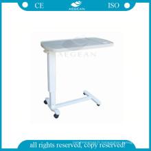 AG-OBT002 hôpital de chevet réglable médical en plastique au-dessus de la table de plateau de lit