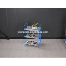 Rack de armazenamento de 3 camadas para exibir frutas e legumes usados