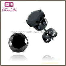 2013 New Products Black-plated Stainless Steel Earring Black Cubic Zirconia Stud Earrings With Butterflies