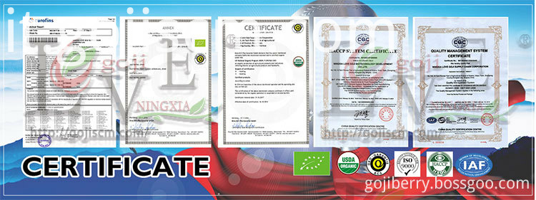 Low Agricultural Residues Goji Berry certificate