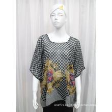 Senhora em torno do pescoço moda impressa poliéster seda chiffon t-shirt (yky2221)