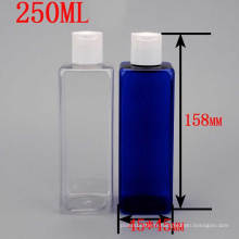 250ml Transparent Blue Square Plastic Cosmetic Packaging Disc Top Press Cap Bouteille