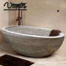 2018 neue maßgeschneiderte runde schwarze freistehende Naturstein Badewanne zum Verkauf freistehend