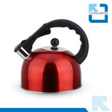 Bouilloire et poêle à eau à la mode en acier inoxydable avec poignée noire fraîche