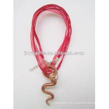 Afortunado regalo Collar de cristal de Lampwork Collar Collar de cristal de Lampwork luz colgante de cristal con el cable de cera