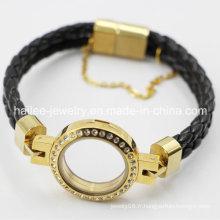 Bracelet en cuir en acier inoxydable de 2015 avec Locket
