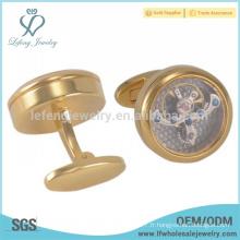 Boutons de manchette en or à la nouvelle arrivée, bijoux gravés, bijoux en mousseline de montre en or