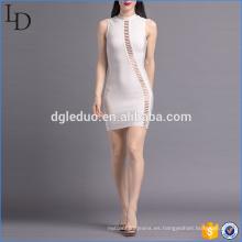 Moda simple verano de la mujer de cuello alto sexy party bodycon dress
