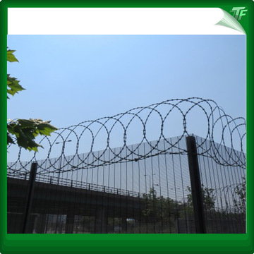 Galvanized razor type barbed wire
