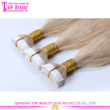 New arrival tape in hair extentions best quality no tangle brazilian tape hair extensions