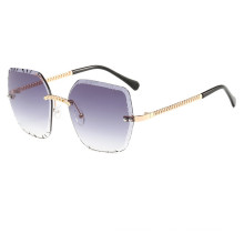 Vintage Rimless Sunglasses Cutting Eyeglasses For Women Outdoor Oculos UV400 Wearing Small Bell Shades