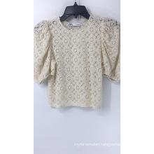 Cream Crochet Bubble Sleeve Top