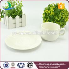 Fabricante de xícara de chá de cerâmica branca e pires atacado