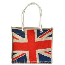 Jute Shopper avec l'impression de drapeau national (hbjh-18)