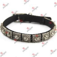 Nylon preto com colar de cristal rebites do cão atacado (PC15121407)