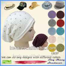 Lingshang 2015 fashion custom beanie caps and hats winter knitted beanie caps hat pattern knitted for woman