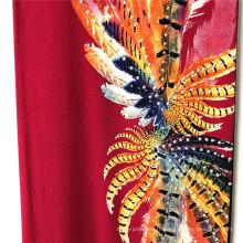 Imprimé rayonne à grandes plumes avec demi-loulou