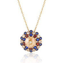 Brilliant Colorful Stone Gold Plated Round Pendant
