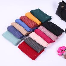 latest design factory tingyu winter women fashion pearl hijab crinkle pleated shawl hijab scarf