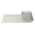 Teal Silk Ribbon Matte White Caja de papel plegable