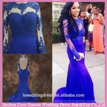 RP0071 high neck mermaid backless real blue princess prom dresses for girls beauty set sheer long sleeve jewel prom dress 2015
