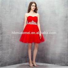 Chine usine fournir rouge couleur robe de soirée pas cher prix épaule solide robe de demoiselle d'honneur de couleur rouge robes 2017