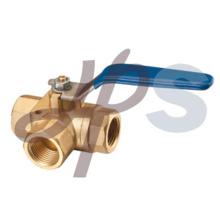 robinet à tournant sphérique à 3 voies en laiton forgé à chaud